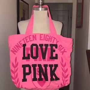 Victoria's Secret Love Pink Pink Cotton Lg Tote 😘